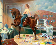 Saddlebred Posters - Work In Progress II Poster by Jeanne Newton Schoborg