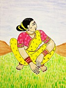 Soul-sisters Painting Prints - Work In The Field Print by Vamsi Maganti
