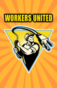 Isolated Digital Art Prints - Worker United Print by Aloysius Patrimonio