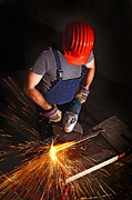 Technical Photos - Worker With Grinder by Gualtiero Boffi