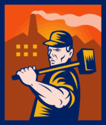 Factory Metal Prints - Worker With Sledgehammer Metal Print by Aloysius Patrimonio