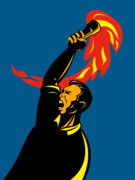 Retro Style Prints - Worker With Torch Print by Aloysius Patrimonio