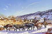 Winter Scene Paintings - Workin by Howard Dubois