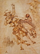 Wood Burning Pyrography Prints - Workin Out the Kinks Print by Jerrywayne Anderson