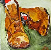 Brown Boots Painting Originals - Working Boots by Irit Bourla