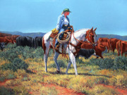 Farmington Paintings - Working Cowgirl by Randy Follis
