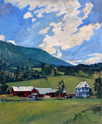 Abstract Composition Paintings - Working Farm Berkshires by Thor Wickstrom