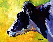 Cow Metal Prints - Working Girl - Holstein Cow Metal Print by Marion Rose