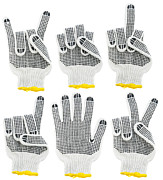 Thumbs Tapestries - Textiles - Working gloves  by Aleksandr Volkov