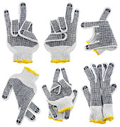 Rubber Tapestries - Textiles - Working gloves  very strange  gestures set by Aleksandr Volkov