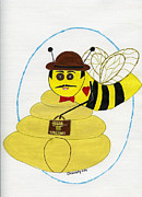 Black Tie Mixed Media - Working Honey Bee William by Christy Woodland