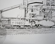 Train Tracks Drawings - Working Hot by Chris Shepherd