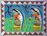 Indian Tribal Art Paintings - WORKING IN FARMS Madhubani painting by Aboli Salunkhe