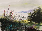 Fir Trees Drawings - Working in the Cove by John  Williams