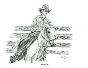 Rodeo Art Drawings - Working It by Barry Jones