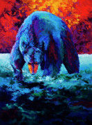 Brown Bear Paintings - Working The Shallows by Marion Rose