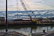 Construction Site Framed Prints - Working With Clouds Framed Print by Peter Chilelli