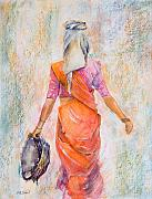 Indian Woman Prints - Working Woman Print by Kate Bedell