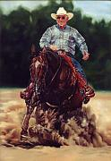 Reiner Paintings - World Champion Reining Horse Texas Kicker by Linda Massey