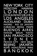 Text Map Digital Art Metal Prints - World Cities Bus Roll Metal Print by Michael Tompsett