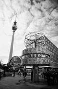 Alexanderplatz Prints - world clock Weltzeituhr at Alexanderplatz meeting place with the tv tower and Berolinahaus berlin Print by Joe Fox