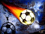 Soccer Painting Prints - World Cup Soccer Hot Flaming soccer ball Print by Teo Alfonso