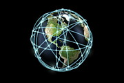 Global Digital Art - World Globe And Communication Lines, Americas by Bjorn Holland