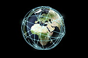 Global Digital Art - World Globe And Communication Lines, Europe And Af by Bjorn Holland