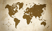 Vintage Map Digital Art Metal Prints - World Grunge Metal Print by Ricky Barnard