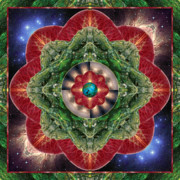 Mandalas Framed Prints - World-Healer Framed Print by Bell And Todd