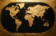 Map Art Glass Art Prints - World in Gold - World Map Print by Rick Silas
