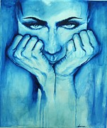 Phthalo Blue Paintings - World in my Eyes by Sanna N