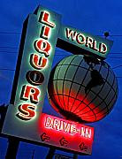 Night Scene Prints - World Liquors Drive In Print by Elizabeth Hoskinson