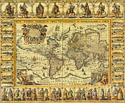 Chart Photos - World Map 1626 by Photo Researchers