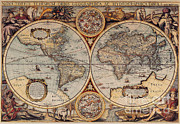Old World Map Posters - World Map 1636 Poster by Photo Researchers
