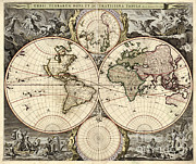 Old Map Photos - World Map, 1690 by Photo Researchers