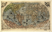 Old Map Photos - World Map, 16th Century by Science Source