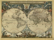 1600s Posters - World Map, 17th Century Poster by Science Source