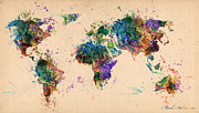 Urban Watercolor Digital Art Prints - World Map 2 Print by Mark Ashkenazi