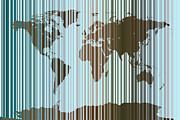World Map Digital Art Metal Prints - World Map Abstract Barcode Metal Print by Michael Tompsett