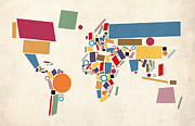 Square Tapestries Textiles Prints - World Map Abstract Print by Michael Tompsett