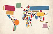 World Map Abstract Print by Michael Tompsett