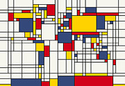 Yellow Digital Art Prints - World Map Abstract Mondrian Style Print by Michael Tompsett