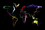 Canvas Digital Art Prints - World Map Abstract Paint Print by Michael Tompsett