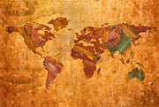 Sienna Posters - World Map Abstract Painted Poster by Zeana Romanovna