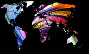 Australia Map Digital Art - World Map Abstract Painting 2 by Stefan Kuhn