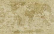 Country Map Prints - World Map Antique Style Print by Michael Tompsett