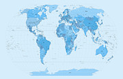 Panoramic Digital Art Metal Prints - World Map Blues Metal Print by Michael Tompsett