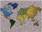Bottlecap Metal Prints - World Map Bottle Cap Mosaic Metal Print by Paul Van Scott