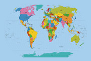 Travel Prints - World Map Bright Print by Michael Tompsett